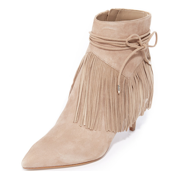 SAM EDELMAN marion fringe booties - Soft fringe and slim wraparound ties accent the cuff on...