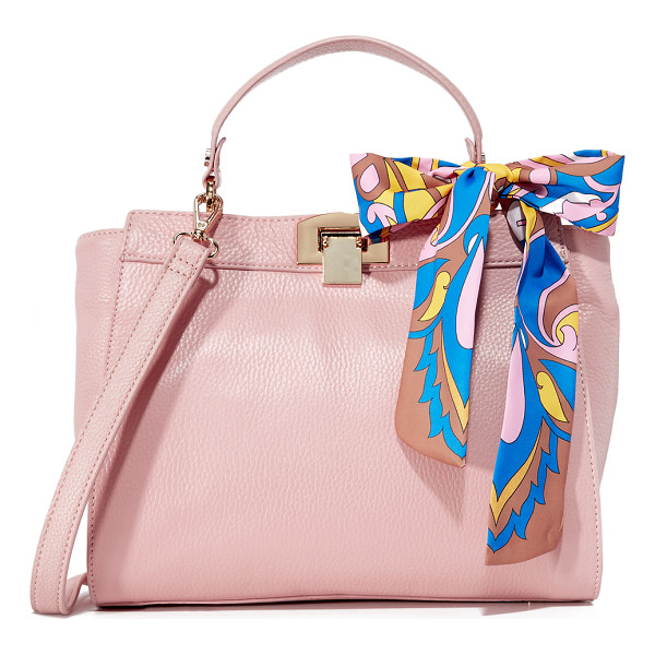 SAM EDELMAN melanie top handle bag - A knotted scarf adds a splash of color to this pebbled...