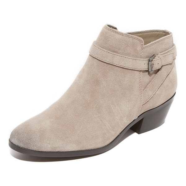 SAM EDELMAN pirro booties - A wraparound buckle strap accents the faux split shaft on...