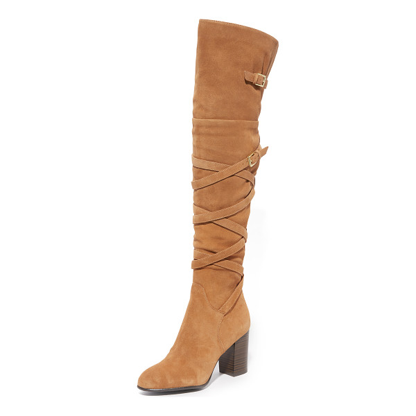 SAM EDELMAN sable over the knee boots - Fixed buckle straps crisscross these suede Sam Edelman over...