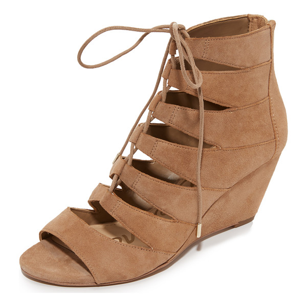 SAM EDELMAN Santina wedge sandals - Panels of smooth suede lend a cage effect to these Sam...
