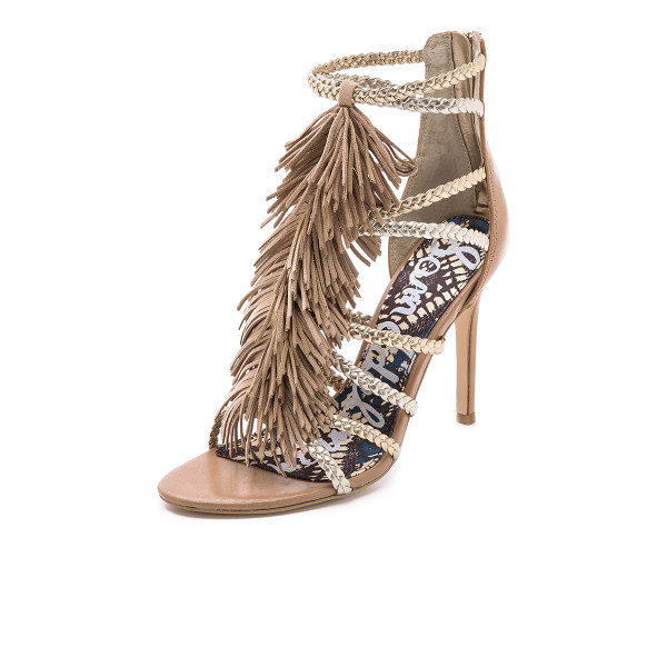 SAM EDELMAN Savannah fringe gladiator heels - Braided metallic straps and fine fringe bring a glamorous