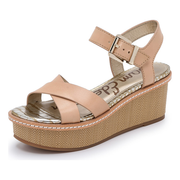 SAM EDELMAN Tina sandals - Woven straw covers the wedge and platform of these leather...