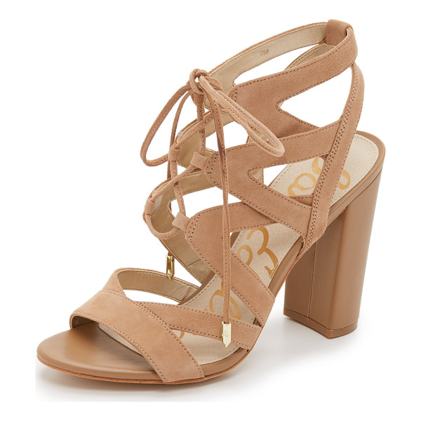 SAM EDELMAN yardley lace up sandals - Soft suede composes these sophisticated Sam Edelman...