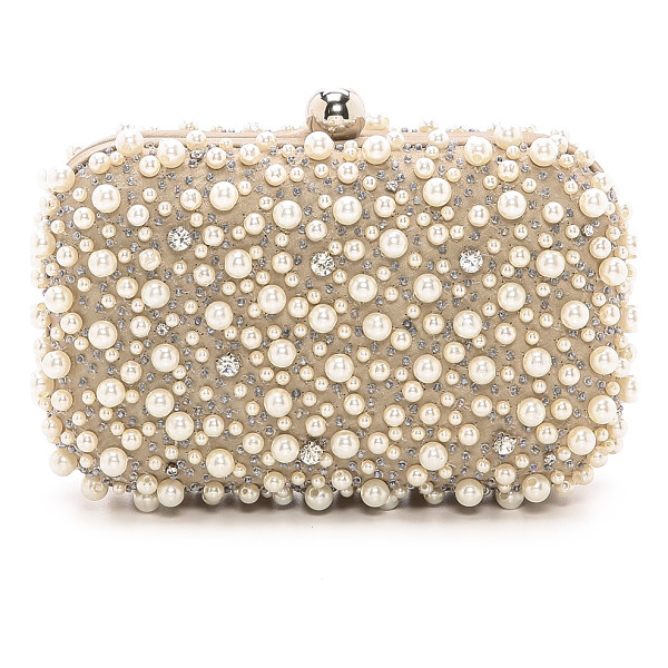 SANTI beaded box clutch - Imitation pearls and cushion-cut crystals add sparkle to