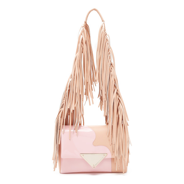 SARA BATTAGLIA Patent teresa shoulder bag - Dense fringe covers the shoulder strap of this pebbled