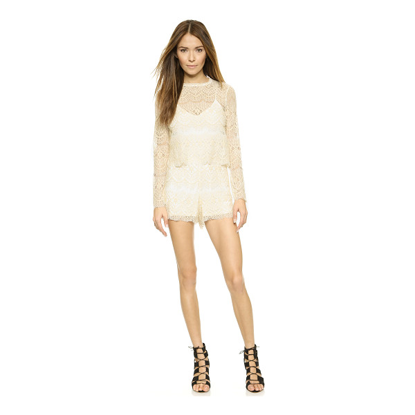 SAYLOR Savannah romper - A sheer yoke lends a sweet and sexy look to this Saylor...