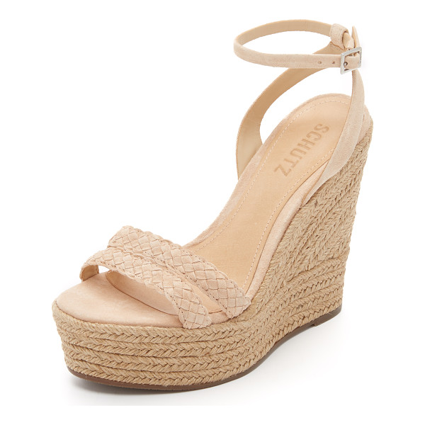 SCHUTZ Adamina wedge sandals - A braided vamp accents these smooth suede Schutz wedges....