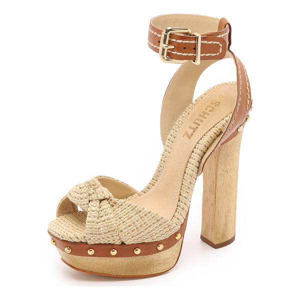 SCHUTZ Dalla platform sandals - Tweed and embroidered leather compose these retro inspired