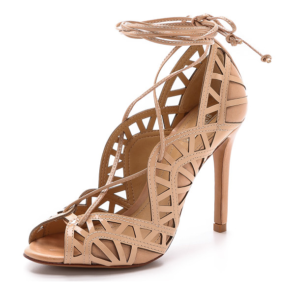 SCHUTZ Dubianna lace up sandals - Peep toe Schutz sandals gain depth with a patent upper