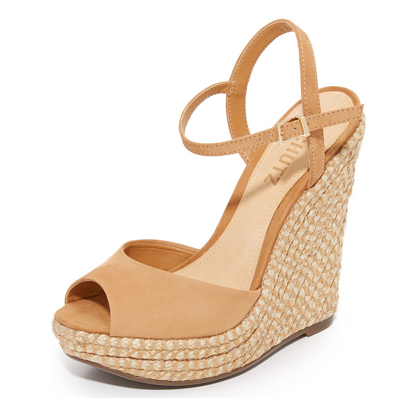SCHUTZ elhan wedges - Braided jute covers the substantial wedge on these nubuck...