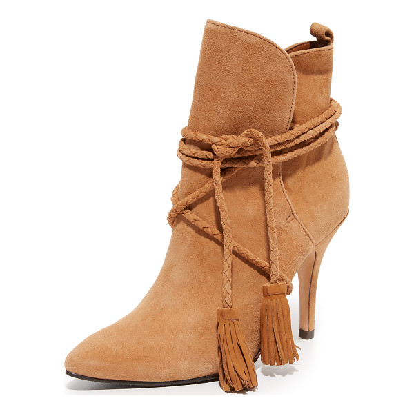SCHUTZ fadhila booties - Braided ties with tassel accents close the split cuff on