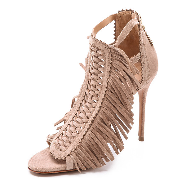 SCHUTZ Fringe suede sandals - Soft fringe accents the woven front panel on suede Schutz...