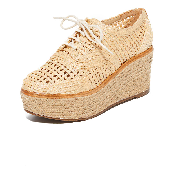 SCHUTZ jules platform oxfords - Woven raffia adds natural appeal to these perforated Schutz...