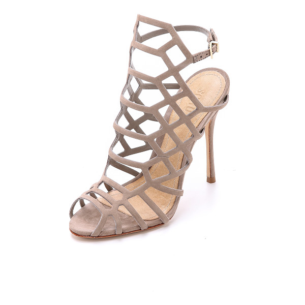 SCHUTZ Juliana caged sandals - Delicate strappy Schutz sandals in rich nubuck. Slim,