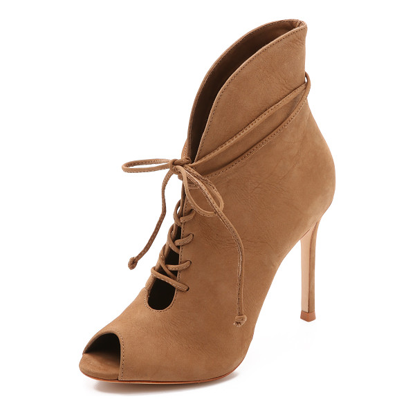 SCHUTZ Kafalin open toe booties - The curved top line flows into a lace up closure on these