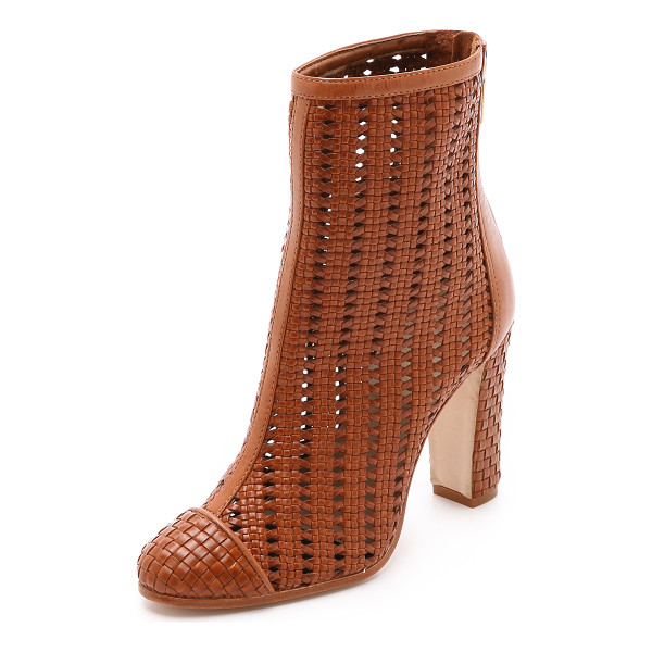 SCHUTZ Kiula woven booties - A patterned, woven leather upper lends texture to unique...