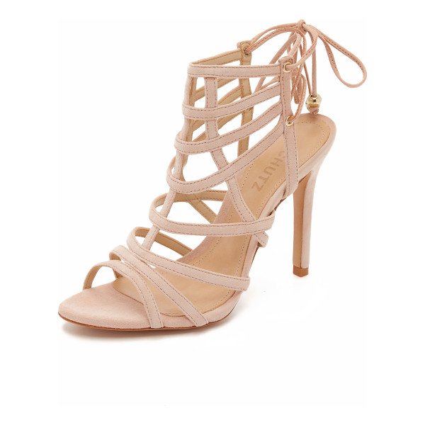 SCHUTZ Latonya sandals - Curved straps form a cage silhouette on these suede Schutz...