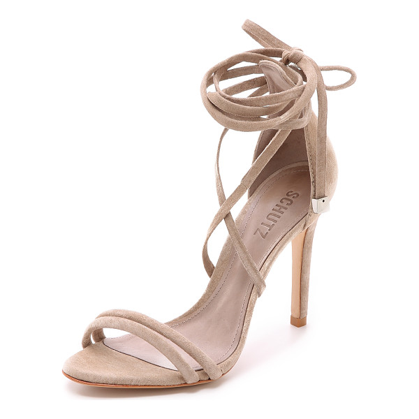 SCHUTZ Lola suede ankle wrap sandals - Beads finish the wraparound ankle ties on these suede...