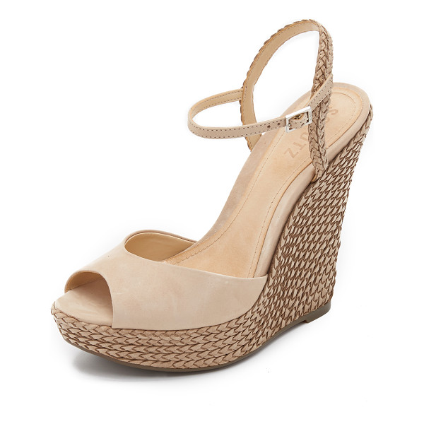 SCHUTZ Mable wedge sandals - Smooth nubuck and braided leather composes these Schutz...