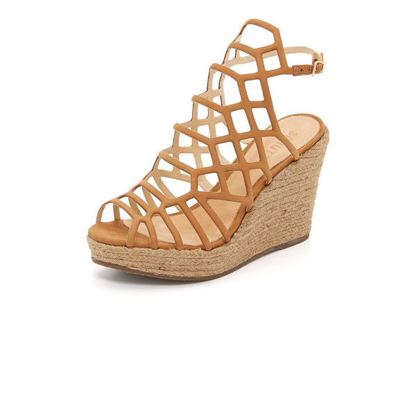 SCHUTZ Marilyn wedge sandals - Angular cutouts create a clean, caged effect on these...