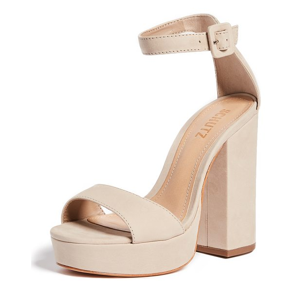 SCHUTZ mikella block heel sandals - Leather: Cowhide. Single-strap style. Chunky heel. Platform...