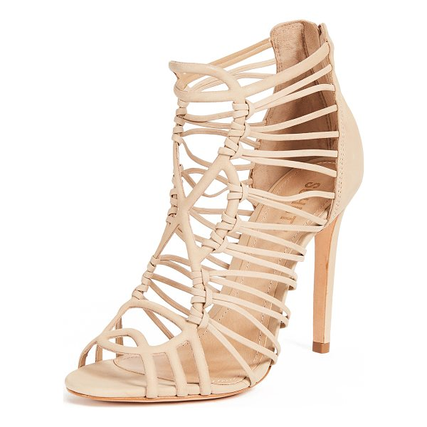 SCHUTZ naama caged sandals - Leather: Cowhide Strappy silhouette Stiletto heel Open toe...