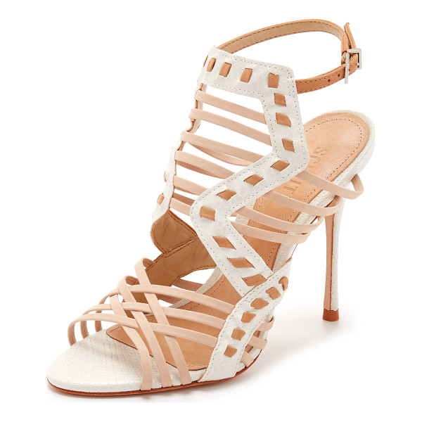 SCHUTZ Tamiris sandals - Delicate woven straps and snake embossed trim composes...