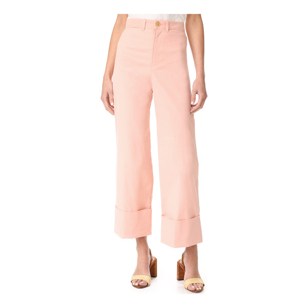 SEA cuffed pants - Tiny slubs accent these high-waisted, wide-leg Sea pants....
