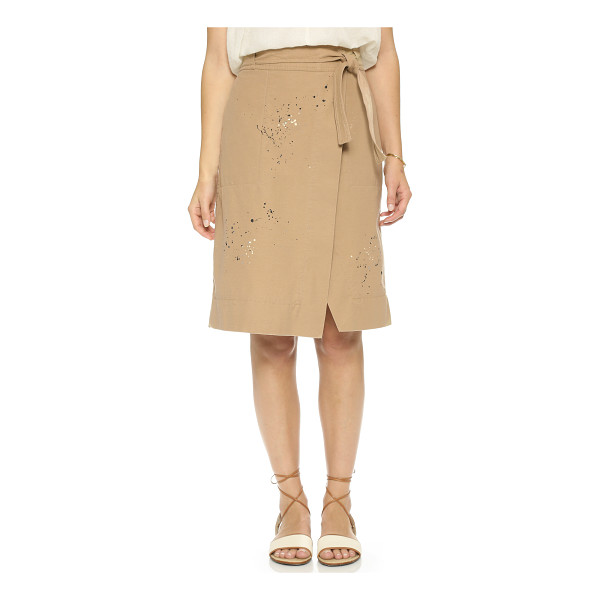 SEA Wrap skirt - Paint spatters lend casual appeal to the crossover front of...