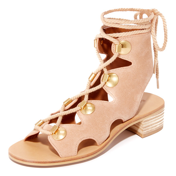 SEE BY CHLOE bill lace up sandals - Large studs trim the scalloped top line on these suede See...