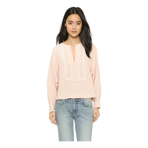 SEE BY CHLOE Blouse with embroidery - Contrast lace trim brings delicate detail to this loose See...