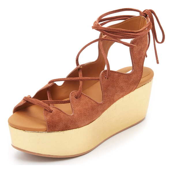 SEE BY CHLOE Liana platform lace up sandals - A metallic platform updates these suede See by Chloé...