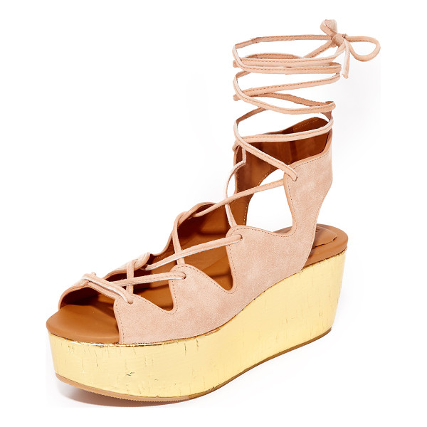 SEE BY CHLOE lilly wedge lace up sandals - A metallic cork platform adds a glam lift to these suede