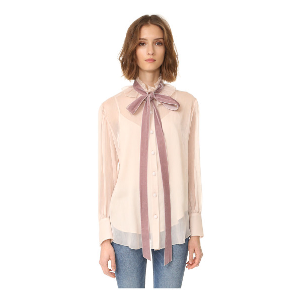 SEE BY CHLOE tie neck blouse - A high, ruffled neckline and velvet tie lend Victorian...