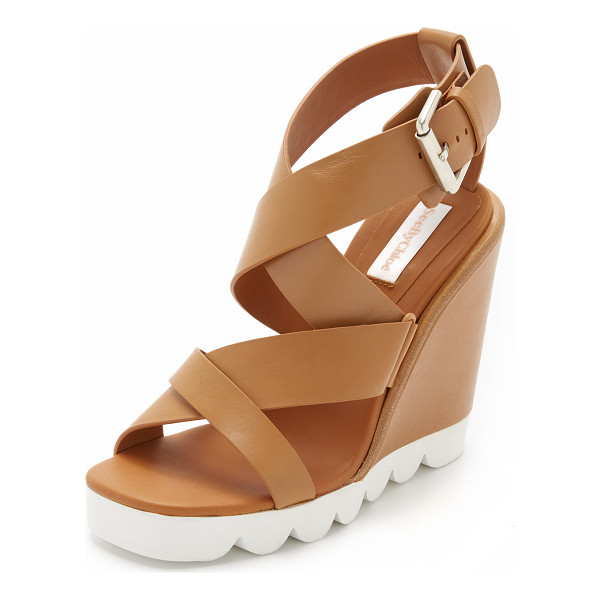 SEE BY CHLOE Tiny wedge sandals - Smooth leather straps crisscross these See by Chloé wedges.