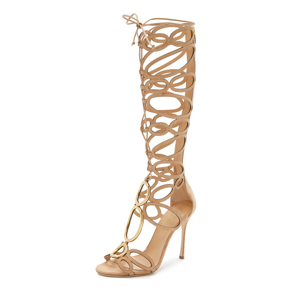 SERGIO ROSSI Farrah sandals - Metal rings and slim suede circles composes these knee high