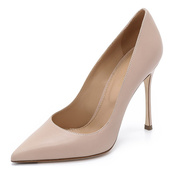 SERGIO ROSSI leather godiva pumps - These classic pointed-toe Sergio Rossi pumps are crafted in...