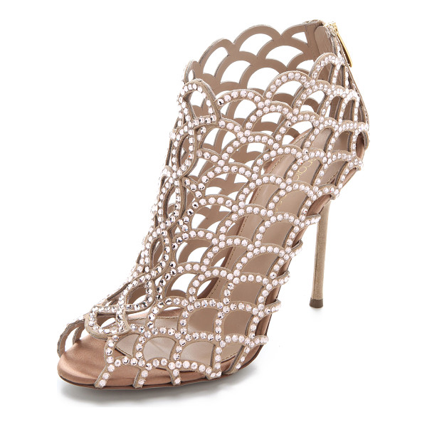 SERGIO ROSSI Sergio Rossi Mermaid Cage Booties - Shimmering Swarovski crystals wink from the scalloped