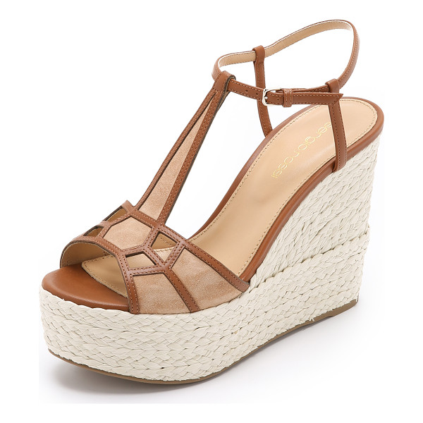 SERGIO ROSSI Puzzle wedges - Soft suede panels are outlined with leather strips on these...