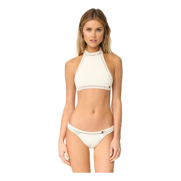 SHE MADE ME essentials halter crochet bikini top - A simple She Made Me halter bikini top, detailed with tie...