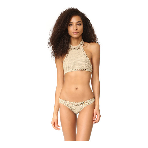SHE MADE ME jannah halter crochet bikini top - A simple She Made Me halter top, detailed with tie closures...
