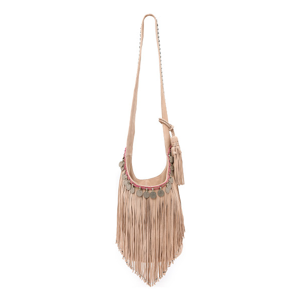 SIMONE CAMILLE Studded bucket bag with fringe - Antiqued coins and shaggy fringe bring vintage edge to this...