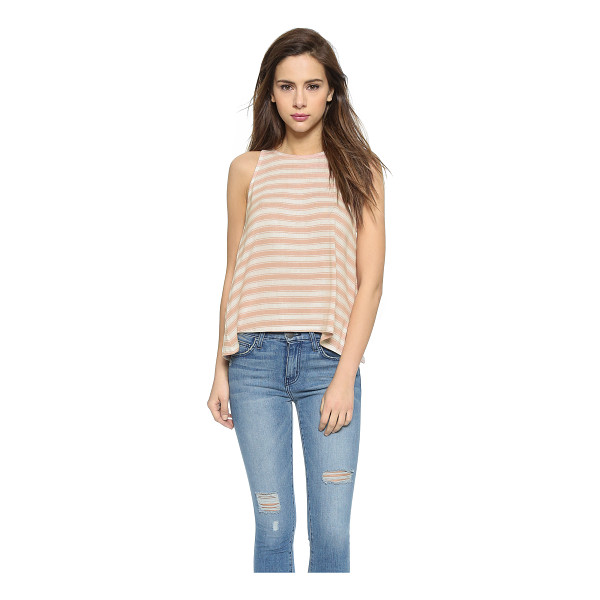 SOFT JOIE Phan tank - Striped fine knit composes this draped Soft Joie tank. An...