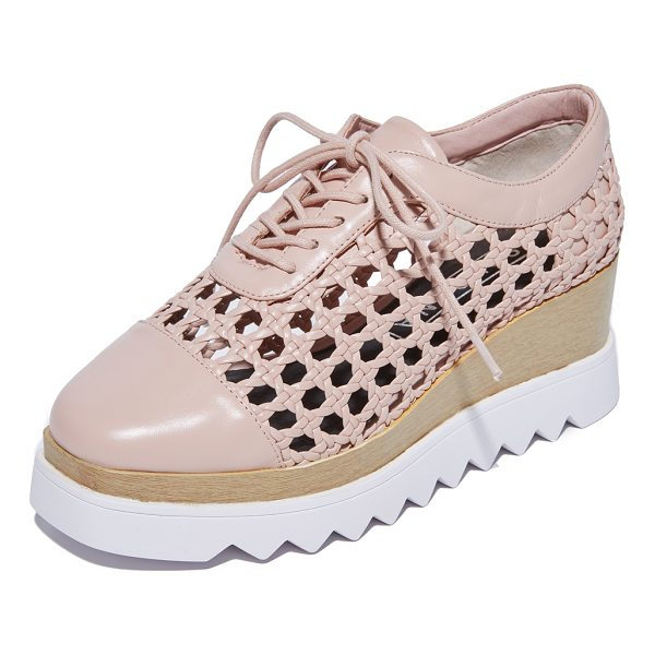SOL SANA fremont wedge oxfords - A zigzag foam platform adds a sporty touch to these woven...