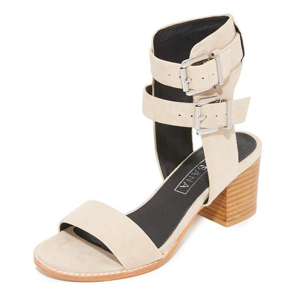 SOL SANA porter heel city sandals - Luxe suede Sol Sana sandals styled with a substantial ankle...