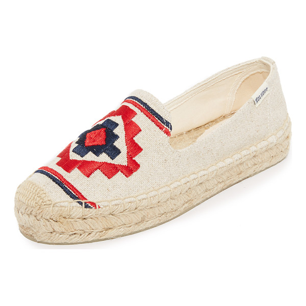 SOLUDOS embroidered platform smoking slippers - Geometric embroidery accents the vamp on these canvas...