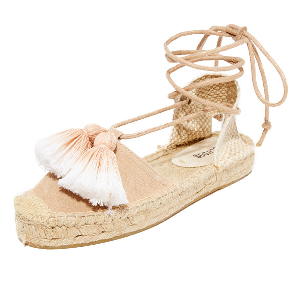 SOLUDOS platform gladiator sandals - Ombré tassels trim the suede vamp on these classic Soludos...