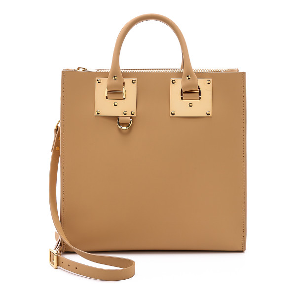 SOPHIE HULME Large square tote - Polished hardware brings luxe shine to this leather Sophie