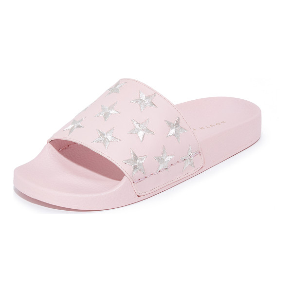SOUTH PARADE stars pool slides - Embroidered, metallic stars accent these leather South...